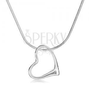 Nyakék 925 ezüstből, vastagabb lánc - kígyó, egyenetlen szív körvonal