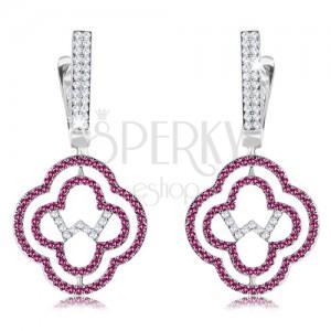 925 ezüst fülbevaló, kettős virág kontúr, rózsaszín és átlátszó cirkóniák