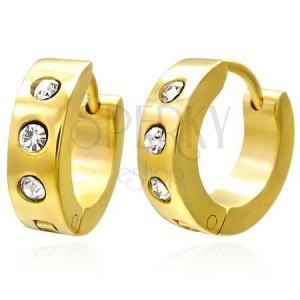 Szögecskés fülbevaló sebészeti acélból, arany árnyalat, átlátszó cirkóniák
