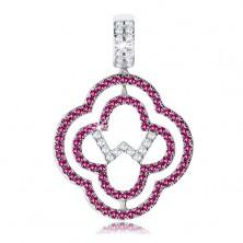 Medál 925 ezüstből, két virág körvonal, rózsaszín és átlátszó cirkóniák