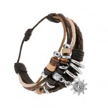 Állítható karkötő bőrből és zsinórokból, fa és acél gyöngyök, napocska