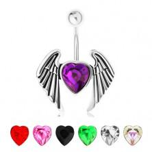 Köldökpiercing 316L acélból, csillogó cirkóniás szív szárnyakkal