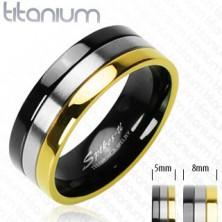 Titánium karikagyűrű - arany, ezüst és ónyx vonalak