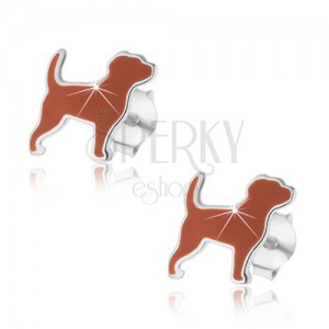 Fülbevaló 925 ezüstből, kutya barna fénymázzal, fényes keret