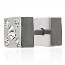 Fake plug két oldalas - négyszög, cirkóniával