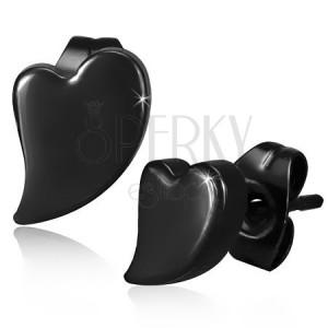 Bedugós acél fülbevaló, aszimmetrikus szív fekete színben, magas fény