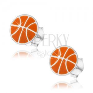 925 ezüst fülbevaló, kosárlabda narancs színű fénymázzal, stekkerek
