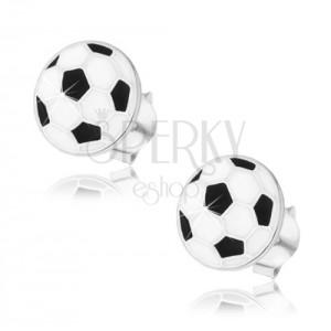 925 ezüst fülbevaló, lapos focilabda, fekete és fehér fénymáz