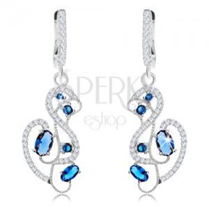 Fülbevaló 925 ezüstből, minta - hattyú kék és átlátszó cirkóniákkal díszítve