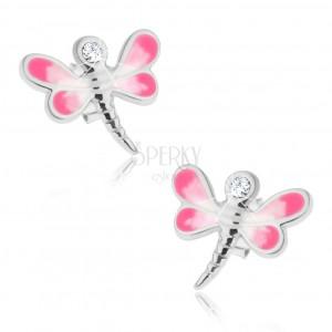 925 ezüst fülbevaló, fényes szitakötő rózsaszín-fehér szárnyakkal, átlátszó cirkónia