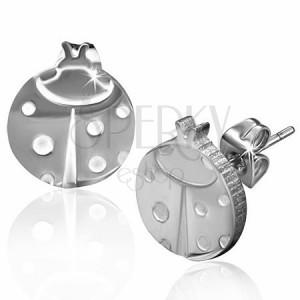 316L bedugós fülbevaló acélból, ezüst színű, katicabogár fehér pontokkal