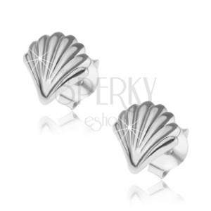 Fülbevaló 925 ezüstből, fényes kagyló gravírozott felülettel, bedugós