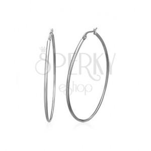 Nagy kerek fülbevaló 316L acélból, ezüst színű, francia kapocs