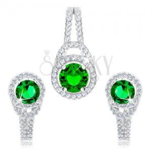 925 ezüst szett medál és fülbevaló, kör alakú zöld cirkónia, kettős vonal