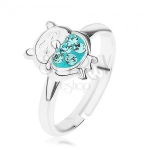 Gyűrű 925 ezüstből, fényes bagoly fénymázzal fedve és türkiz színű cirkóniával díszítve