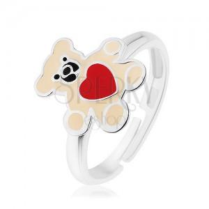 925 ezüst gyűrű, mackó krémszínű fénymázzal és piros szívvel