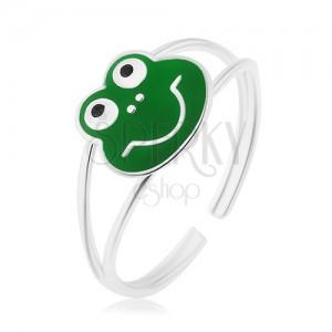 925 ezüst gyűrű, fényes dupla szár, mosolygós béka, zöld fénymáz