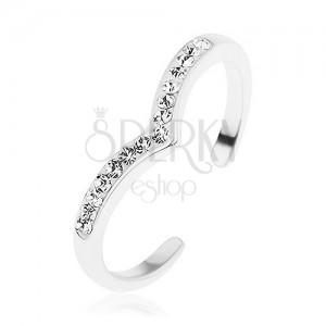 925 ezüst gyűrű, spicces vonal, csillogó átlátszó cirkóniával kirakva