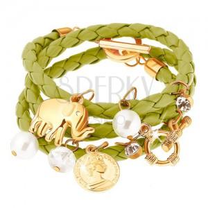 Multikarkötő - zöld fonat, elefánt, érem, átlátszó és gyöngyházfényes gyöngyök