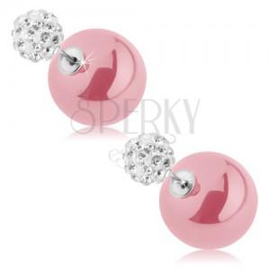 Fülbevaló - kétoldalas, bedugós, rózsaszín és fehér golyó, átlátszó cirkóniák