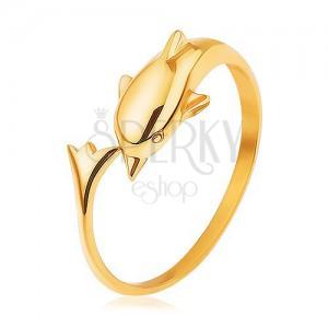 925 ezüst gyűrű, arany szín, delfin meghosszabított farokrésszel