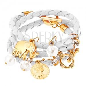 Fonott karkötő, fehér, gyöngy, érme, elefánt és cirkónia medálokkal