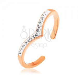 925 ezüst gyűrű, rézszín, spicces vonal fehér fénymázzal, átlátszó cirkóniák