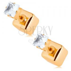 Kétoldalas fülbevaló, fényes kocka, arany szín, átlátszó cirkónia