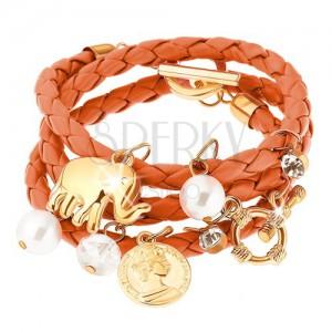 Fonott karkötő, narancssárga színű, gyöngy, érme, elefánt és cirkónia medálokkal