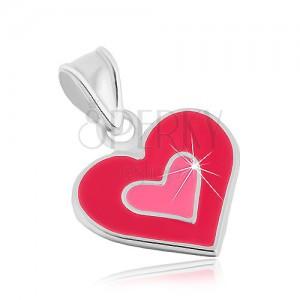 Medál 925 ezüstből, kettős szív, fénymáz rózsaszín árnyalatban
