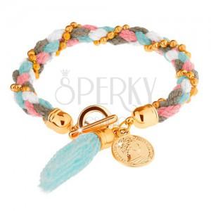 Fonott karkötő, színes fonalak, arany színű golyók, dekoratív érme