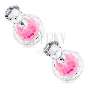 Kétoldalas ezüst színű fülbevaló, két golyó - tiszta és rózsaszín cirkónia