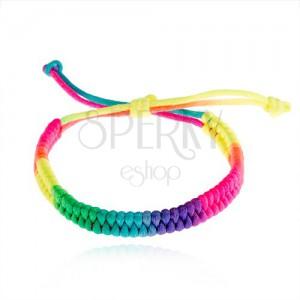 Fonott karkötő fonalból, neon színek, állítható méret