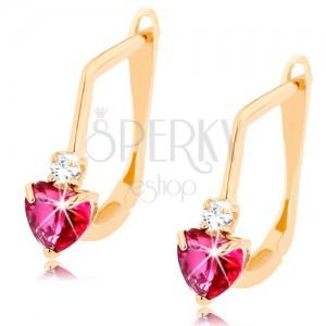 Fülbevaló 14K sárga aranyból - sötétrózsaszín rubin szív, tiszta cirkónia