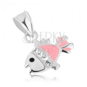 925 ezüst medál, halacska - fekete szem, rózsaszín és fehér fénymáz, átlátszó cirkónia