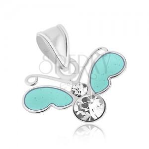 Medál 925 ezüstből, kis pillangó átlátszó cirkóniával és kék szárnyakkal