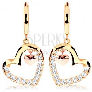 585 arany fülbevaló - csillogó szív körvonalú, bronz színű apró szívecske