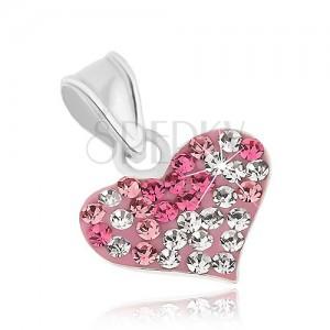 925 ezüst medál, fényes szív átlátszó és rózsaszín cirkónivál díszítve