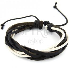 Zsinóros karkötő, fekete és bézs színű, hossza állítható
