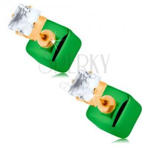 Kétoldalas fülbevaló, fényes kocka, zöld árnylatú, átlátszó cirkónia