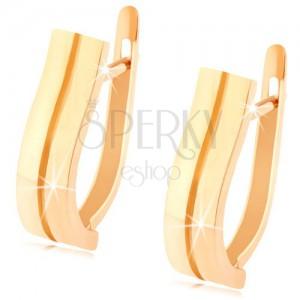 585 arany fülbevaló - két lágy hullámos sáv, sima tükörfényes felület