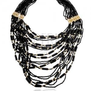 Gyöngyös nyaklánc, fekete és arany színű, henger és golyó díszekkel, delfinkapocs