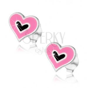 925 ezüst bedugós fülbevaló, dupla szívecske, fekete és rózsaszín fénymáz