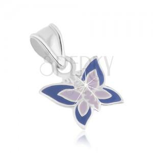 Fényes 925 ezüst medál, pillangó alakú, lila árnyalatú fénymázzal