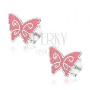 Fülbevaló 925 ezüstből, rózaszín pillangó alakú, fényes spirálok, stekker
