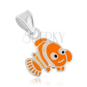 925 ezüst medál, vidám narancssárga halacska Nemo, fényes körvonal