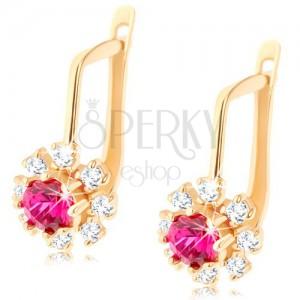 14K sárga színű arany fülbevaló - fényes virág, sötétrózsaszín rubin és átlátszó cirkóniák