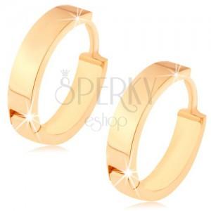 14K sárga színű arany fülbevaló - kis kör alakú, tükörfényes felülettel
