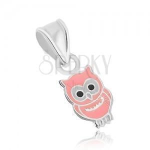 Bagoly alakú 925 ezüst medál, rózsaszín fénymázzal fedve