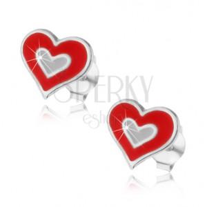 Bedugós fülbevaló, 925 ezüst, dupla szívecske piros és fehér fénymázzal